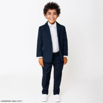 CARRÉMENT BEAU Boys Navy Blue Twill Suit