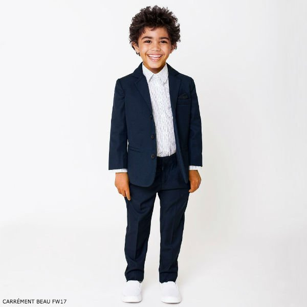 CARRÉMENT BEAU Boys Navy Blue Twill Suit