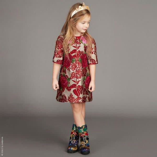 DOLCE & GABBANA Girls Red & Gold Jaquard Dress
