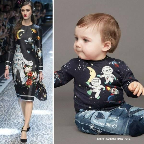 DOLCE & GABBANA Blue Mini Me Astronaut Print T-Shirt