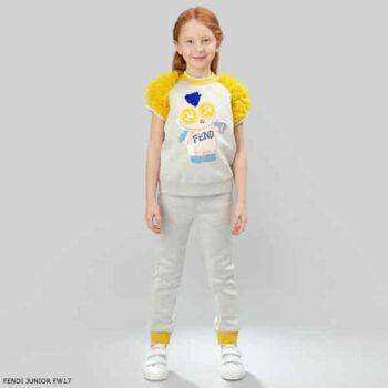 FENDI Girls Grey Neoprene Tulle Top