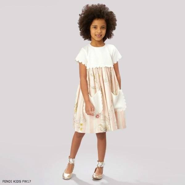 FENDI Girls Pink Flower Pocket Dress