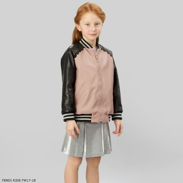 FENDI Girls Pink Leather Jacket & Metallic Skirt