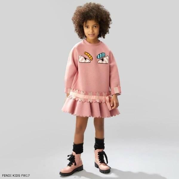 FENDI Girls Pink Neoprene Dress