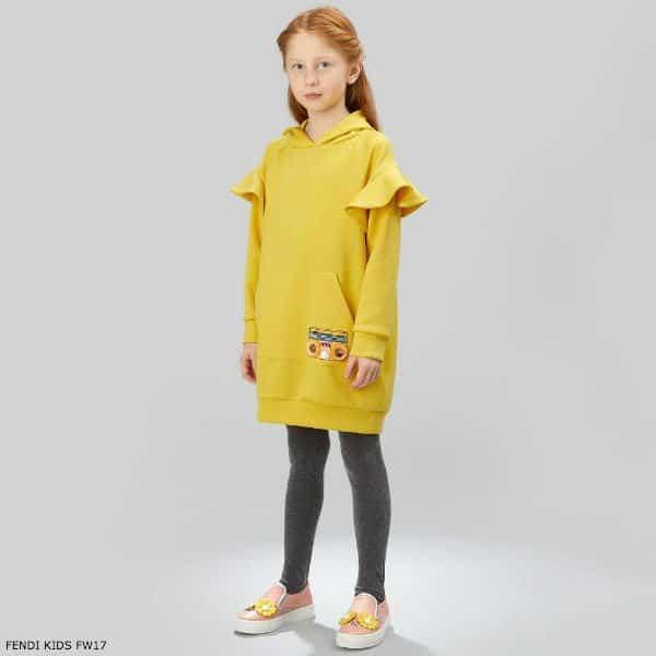 FENDI Girls 'Piro-Chan' Yellow Dress