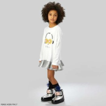 FENDI GIRLS WHITE PIRO-CHAN DRESS