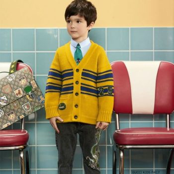 GUCCI Boys Yellow 25 Wool Cardigan