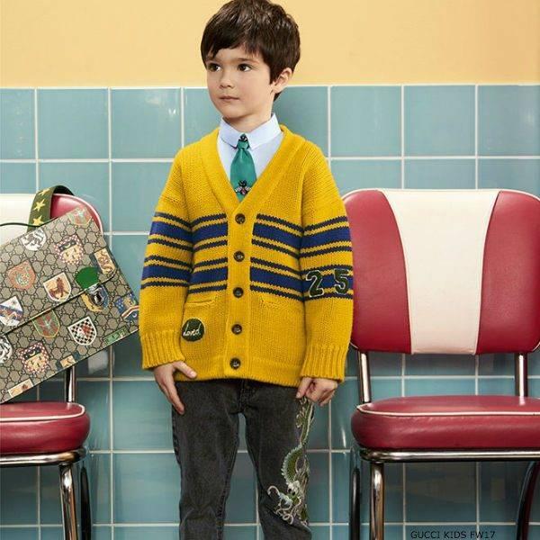 GUCCI Boys Yellow 25 Wool Cardigan