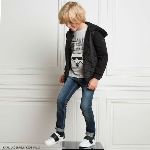 KARL LAGERFELD KIDS Boys Black Quilted Jacket