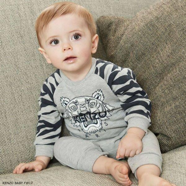 KENZO KIDS Boys Grey Tiger Babygrow