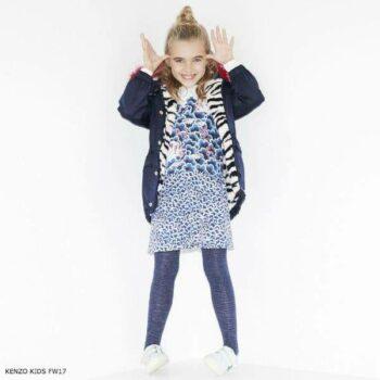 KENZO KIDS Girls Dark Blue Tiger Coat