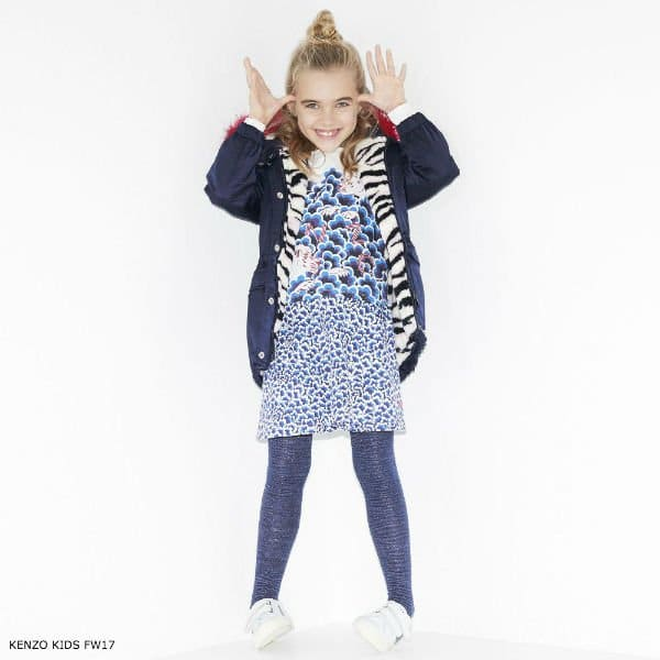KENZO KIDS Girls Dark Blue Tiger Coat