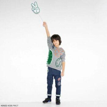 KENZO KIDS Grey Emoji Printed Sweatshirt