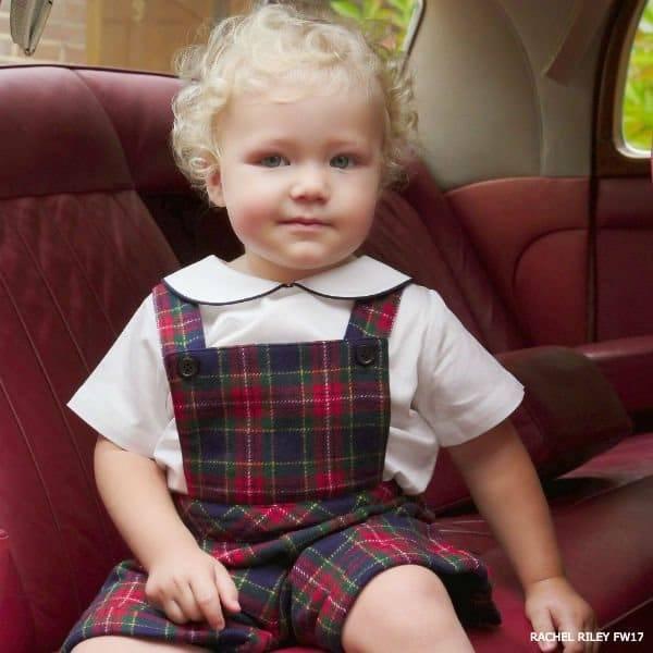 RACHEL RILEY Baby Boy Tartan Dungarees Dress Shorts