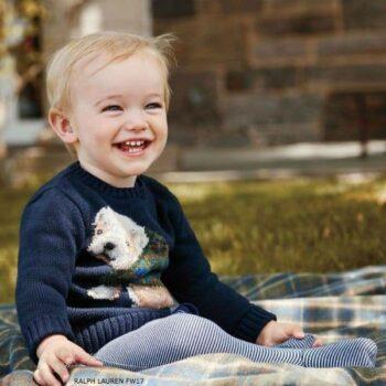 RALPH LAUREN Baby Boys Blue Dog Sweater
