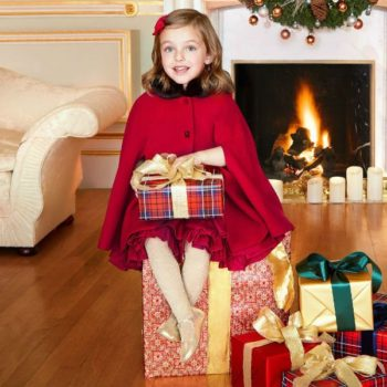 SARAH LOUISE Girls Red Cashmere Blend Cape