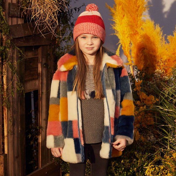STELLA MCCARTNEY KIDS Girls Grey & Orange Fur Coat