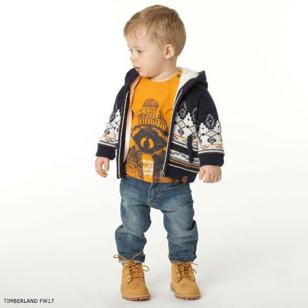 TIMBERLAND Baby Boys Grey & Blue Knitted Cardigan