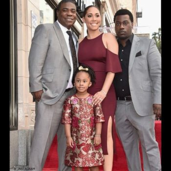 Tracy Morgan Daughter Maven Dolce Gabbana Red Gold Brocade Dress Hollywood Walk of Fame Ceremony