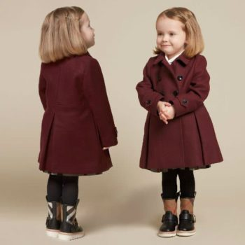 BURBERRY Baby Girls Burgundy Wool Coat and Check Boots