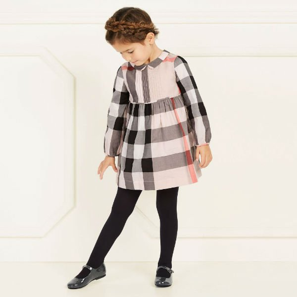 BURBERRY Girls Classic Pink Check Dress