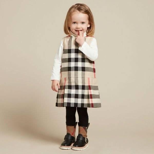 BURBERRY Little Girls Beige Mini Dawny Dress