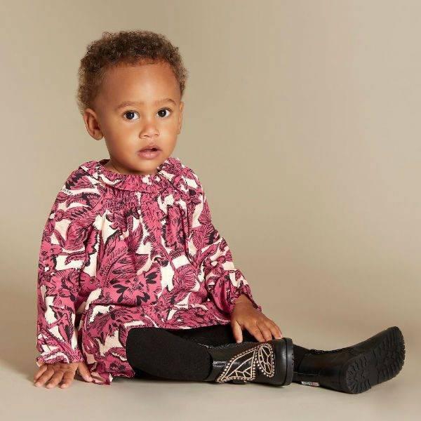 Burberry Beasts Baby Girl Pink Print Cotton Smock Dress