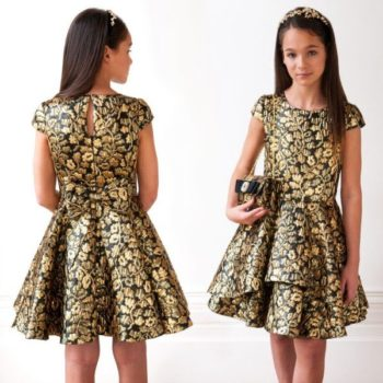 DAVID CHARLES GIRLS BLACK & GOLD JACQUARD PARTY DRESS