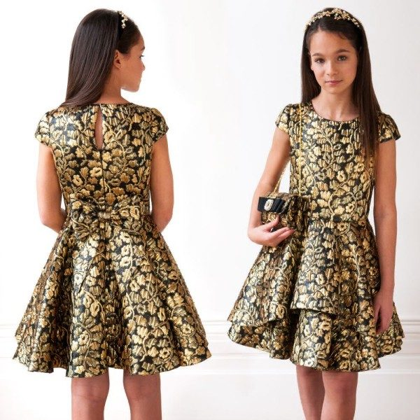 DAVID CHARLES Girls Black & Gold Jacquard Party Dress