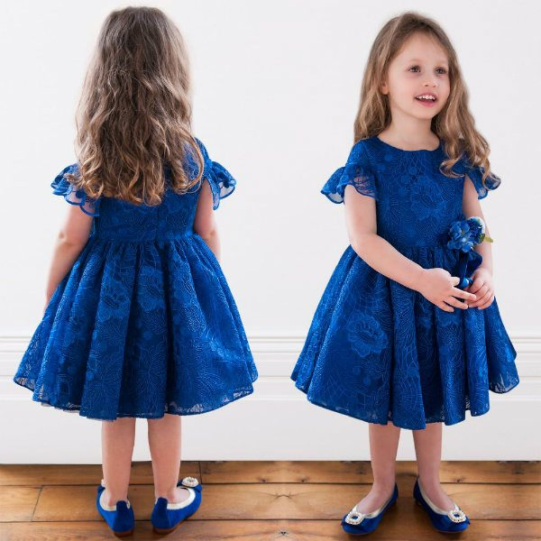 DAVID CHARLES Girls Blue Lace Tulle Party Dress