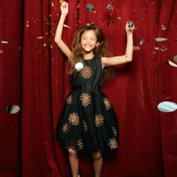 DERHY KIDS GIRLS BLACK SATIN PARTY DRESS