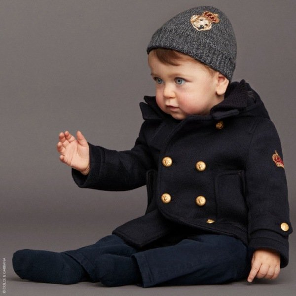 DOLCE & GABBANA Baby Boys Blue Military Wool Coat