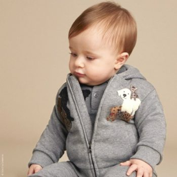 DOLCE & GABBANA Baby Boys Grey ''DG Family' Zip-Up Hooded Top