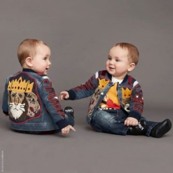 DOLCE & GABBANA Baby Boys King is Back Applique Denim Jacket