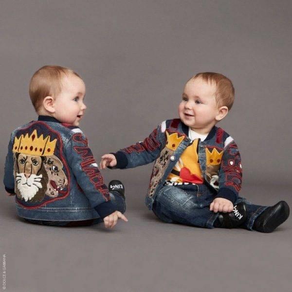 DOLCE & GABBANA Baby Boys King is Back Applique Denim Jacket