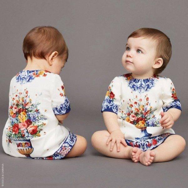 DOLCE & GABBANA Baby Girl 'Vaso Fiori' Silk Mini Me Party Dress