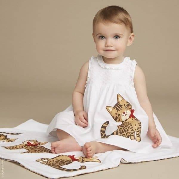 DOLCE & GABBANA Baby Girls Designer White Cotton 'Zambia' The Cat Dress