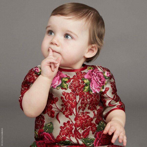 DOLCE & GABBANA Baby Girls Red Jacquard Mini Me Dress