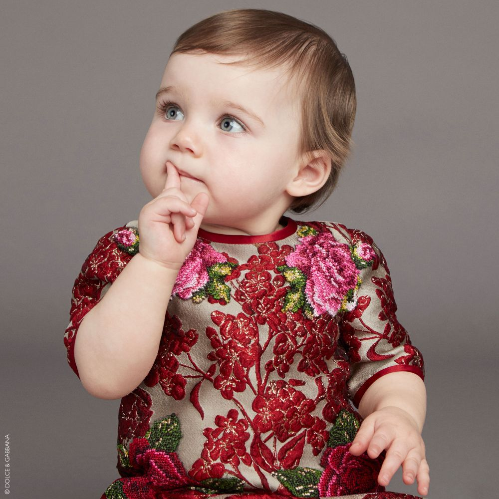 DOLCE & GABBANA Baby Girls Red Jacquard Mini Me Dress