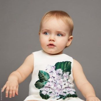 DOLCE & GABBANA BABY GIRLS WHITE ORTENSIA MINI ME PARTY DRESS