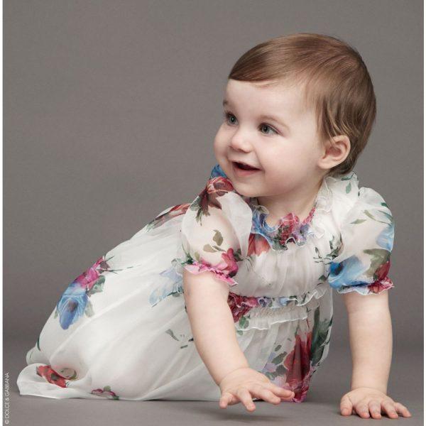 DOLCE & GABBANA Baby Girls White Silk 'Rose' Party Dress