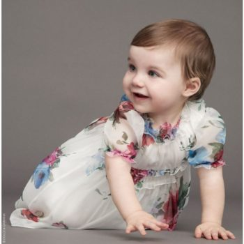 DOLCE & GABBANA Baby Girls White Silk 'Rose' Party Dress