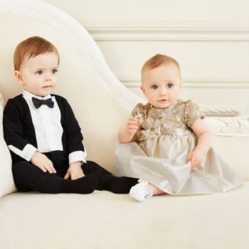 DOLCE & GABBANA BOYS TUXEDO BABYSUIT & BABY GIRLS GOLD PARTY DRESS