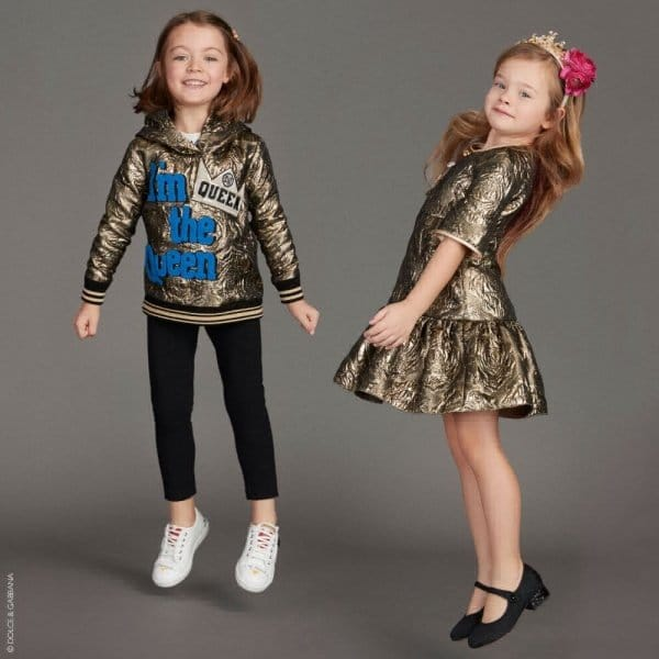 DOLCE & GABBANA Girls MIni Me Gold Jacquard Party Dress