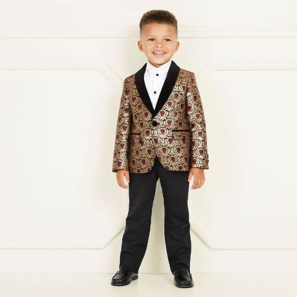 DOLCE & GABBANA JUNIOR BOYS GOLD JACQUARD JACKET