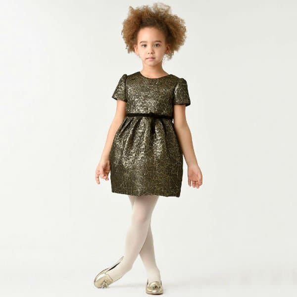 I PINCO PALLINO Girls Gold Party Dress