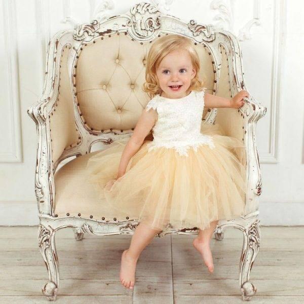 JUNONA Baby Girls Designer Ivory Tulle Party Dress