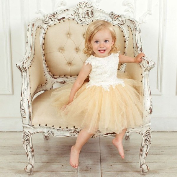 JUNONA Baby Girls Designer Ivory Tulle Party Dress