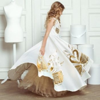JUNONA Girls Ddesigner Luxury White Swan Party Dress