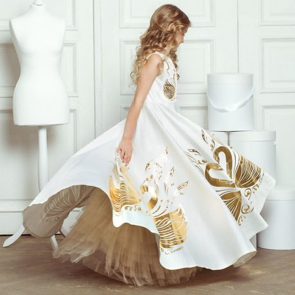 JUNONA Girls Ddesigner Luxury White Swan Party Dress